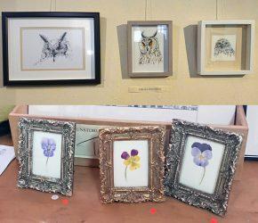 Fotocollage van 6 tekeningen bij Galerie Stam